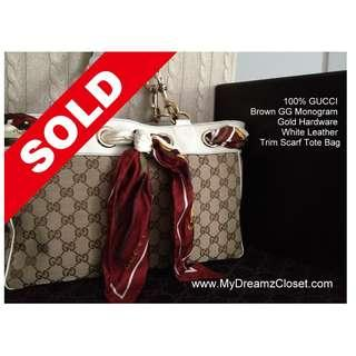 SOLD - 100% GUCCI Brown GG Monogram Gold Hardware White Leather Trim Scarf Tote Bag