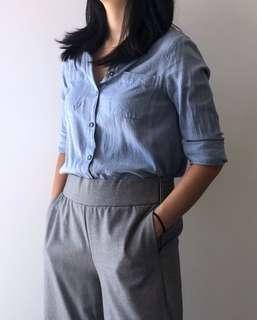 TopShop Blue Long-sleeve Shirt