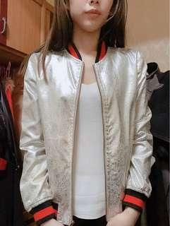 時尚休閒銀包棒球外套