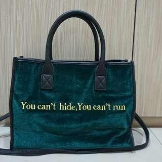 Forest Green Velvet Leopard Bag