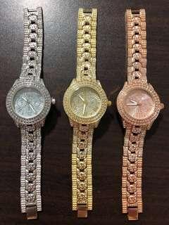 🚚 Metal Chain Links Strap Bling Cubic Zirconia CZ Watches
