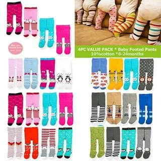 BABY 4PCS VALUE PACK FOOTED LEGGINGS