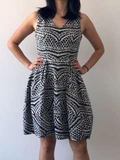 Cue Black & White Patterned Work Dress