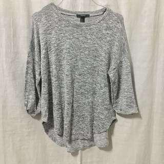 Forever 21 3/4 Sleeves Gray Top