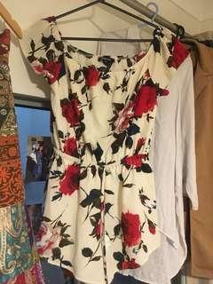 Off the shoulder floral playsuit