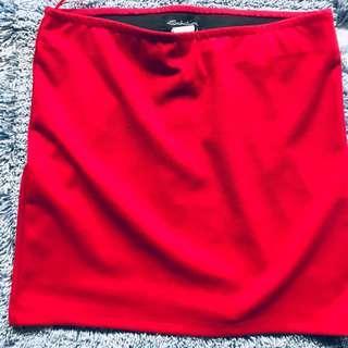 Red office skirt