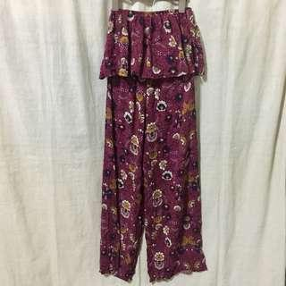 Maroon with Floral Design Match Set of Off-Shoulder Top and Pants