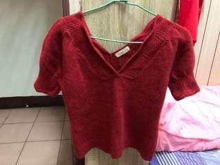 大v領紅色毛衣