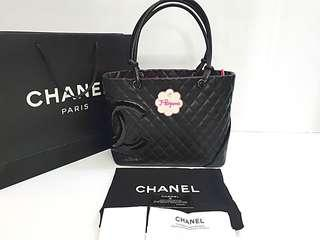 Authentic Chanel Cambon Line Quilted Lambskin Black With Black Patent CC Large Shopping Tote Bag {{ Only For Sale }} ** No Trade ** {{ Fixed Price Non-Neg }} ** 定价 **