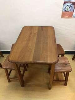 Wodden table and stools
