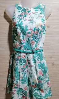 White and Green Floral Dress