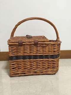 Rattan Picnic Basket with Utensils