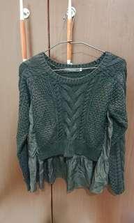 🚚 全新轉賣日本專櫃品牌正品coco deal黑色拼接雪紡針織上衣毛衣 正韓可參考