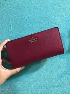 $100 Kate Spade Cameron Street Stacy Wallet in Red Deep Wine