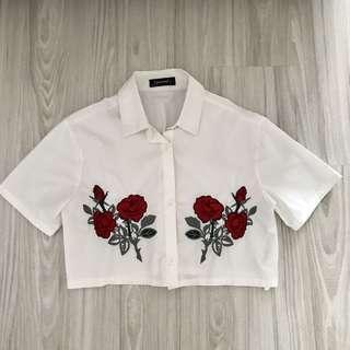 Embroidery Collar Crop top
