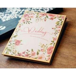 🚚 粉色玫瑰婚禮簽名本禮金簿