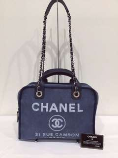69c0b8973b42 100% Authentic Chanel Deauville Canvas Bowling 2Way Tote/Shoulder Bag,  Large, Denim