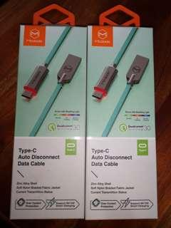 🚚 Mcdodo Auto Disconnect Type C Cable (2 x 1.5m Tiffany Blue)
