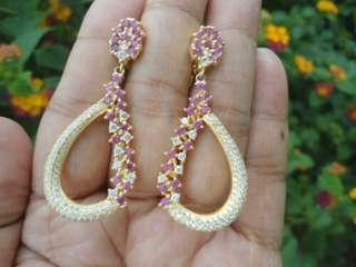 Natural Pink Sapphire & CZ Earring