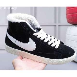 Nike Blazer Mid Suede加毛版 高幫開拓者 冬季保暖系列 配送加毛鞋墊黑白 36-44