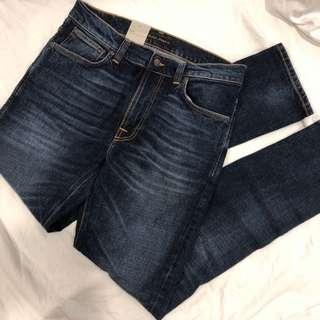 BNWT Nudie Jeans Lean Dean Dark Worn Navy $130