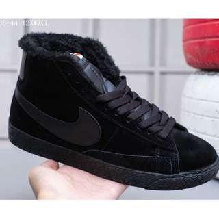 Nike Blazer Mid Suede加毛版 高幫開拓者 冬季保暖系列 配送加毛鞋墊全黑 36-44