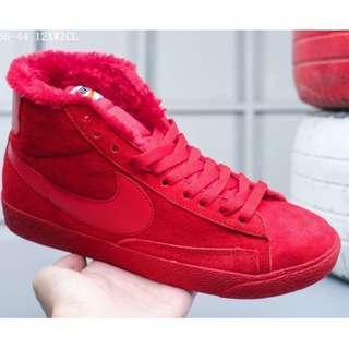Nike Blazer Mid Suede加毛版 高幫開拓者 冬季保暖系列 配送加毛鞋墊全紅 36-44