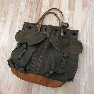Vintage military remade shoulder bag / us army denim ready made