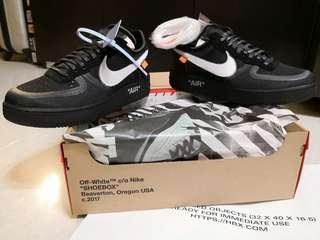 Off white x nike air force 1 black Hot size US 8.5 OW