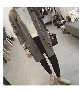 韓國製 韓國設計 英國衛兵 針織外套 長版