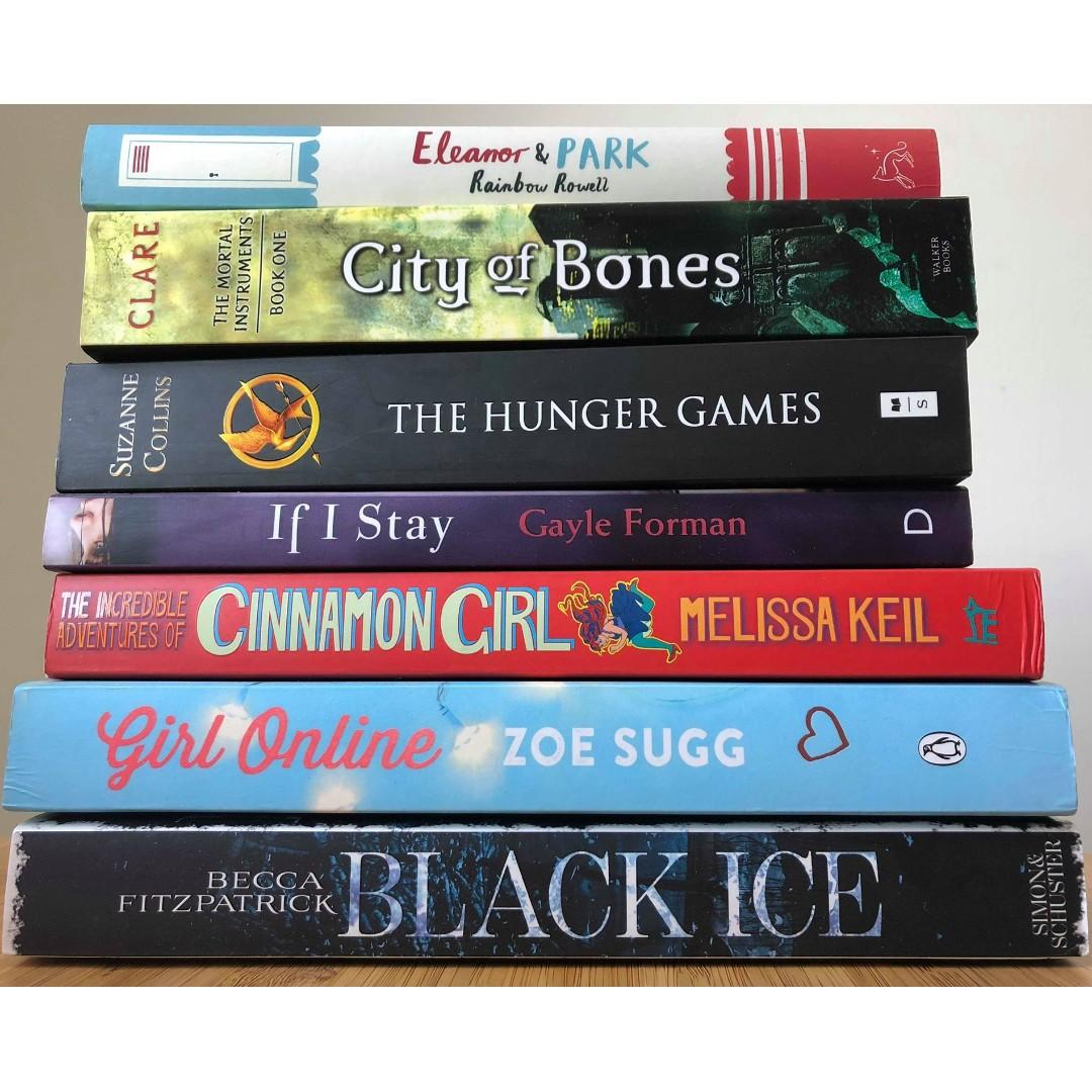 7x young adult books Eleanor & Park Girl Online City of Bones Hunger Games If I Stay
