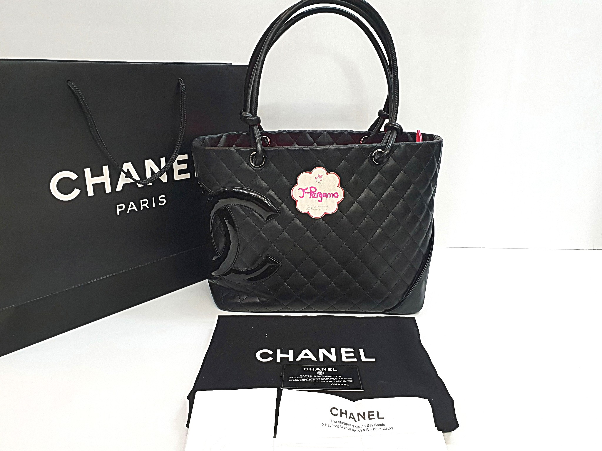 6bd22e85786e Authentic Chanel Cambon Line Quilted Lambskin Black With Black ...