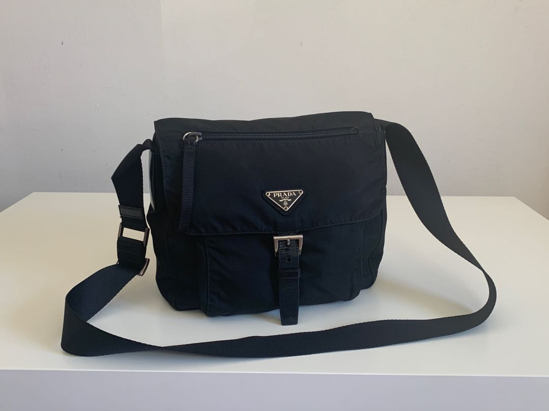 5d9218a24388 Authentic Prada Black Tessuto Nylon Small Messenger Bag
