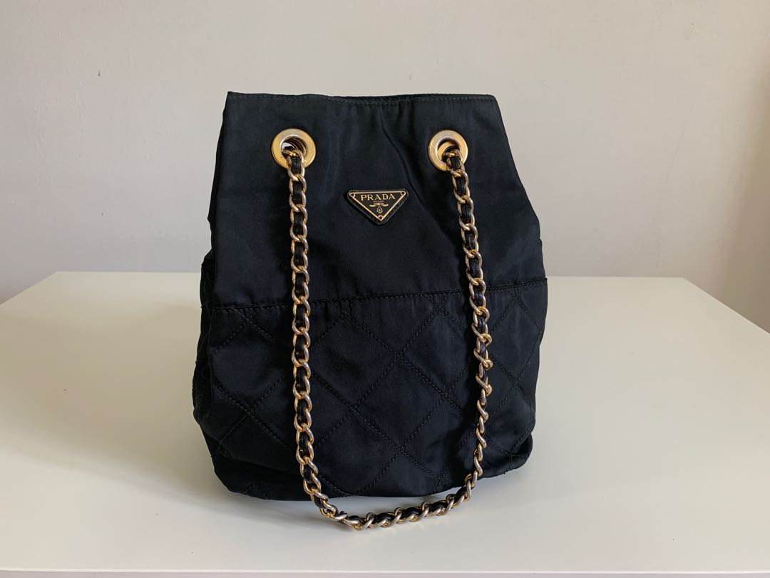 8cead10beb Authentic Prada Quilted Nylon Chain Hand Shoulder Bag