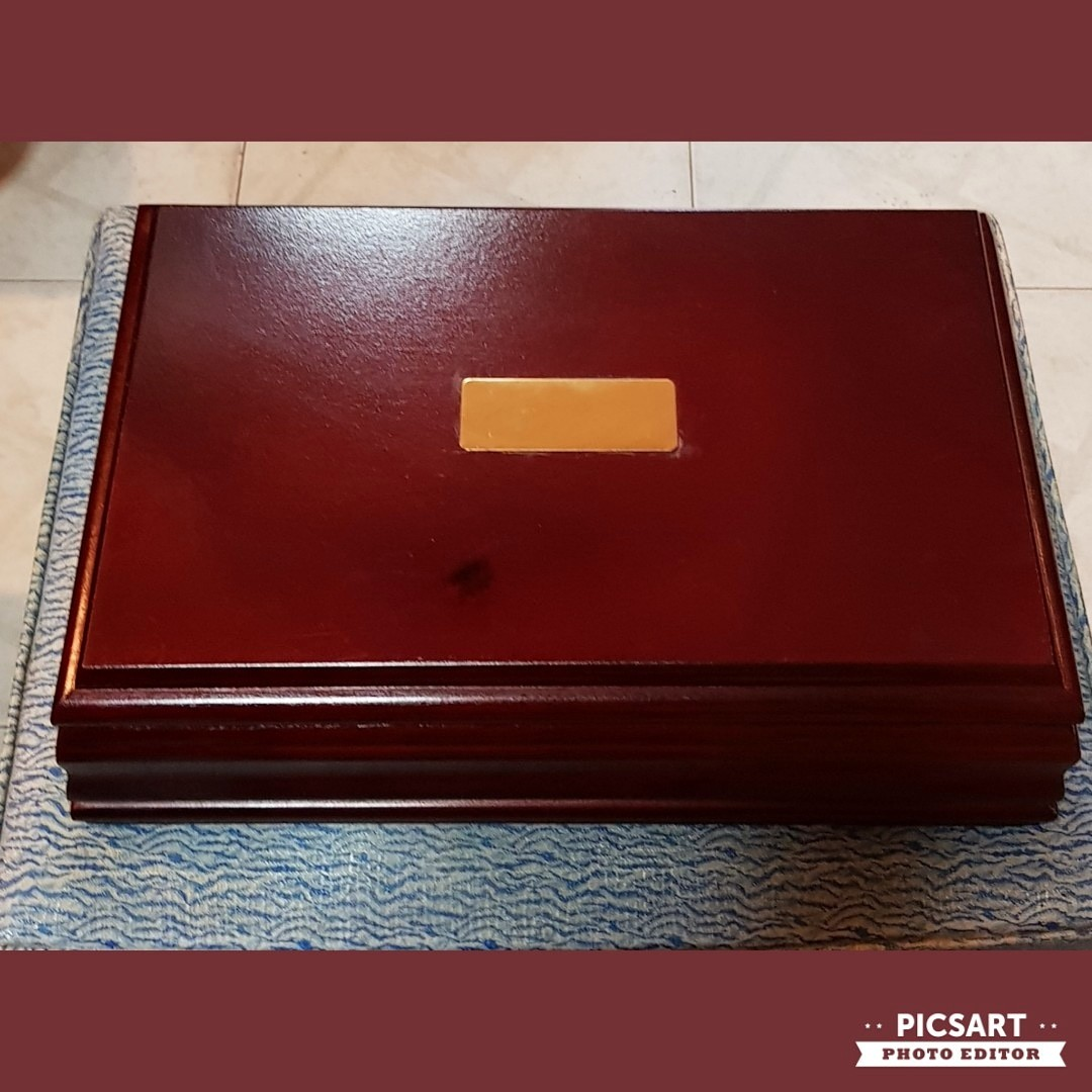 Big And Elegant Vintage Rosewood Colour Solid Wood Case With Many
