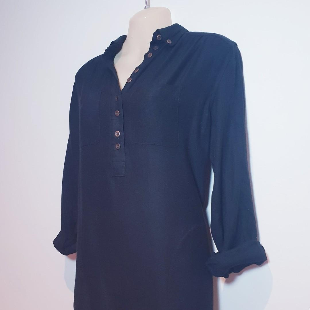 Black Button Up Cuffed Long Sleeve Shirt - FRENCH CONNECTION DENIM - Size 12