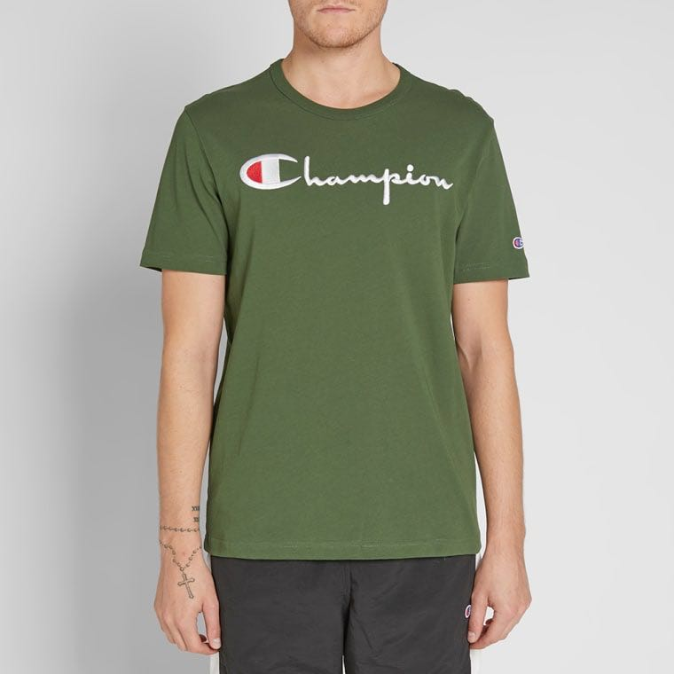 eae4f1b0 BNWT bottle green champion reverse weave script logo tee, Men's Fashion,  Clothes, Tops on Carousell