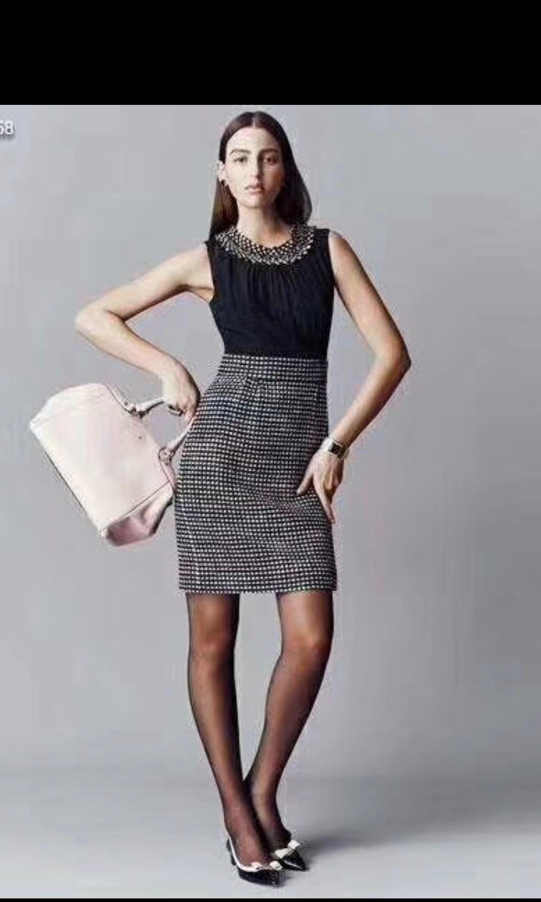 ae45334390c2 BNWT Kate Spade Swarovski Encrusted Neck Tweed Skirt Dress, Women's ...