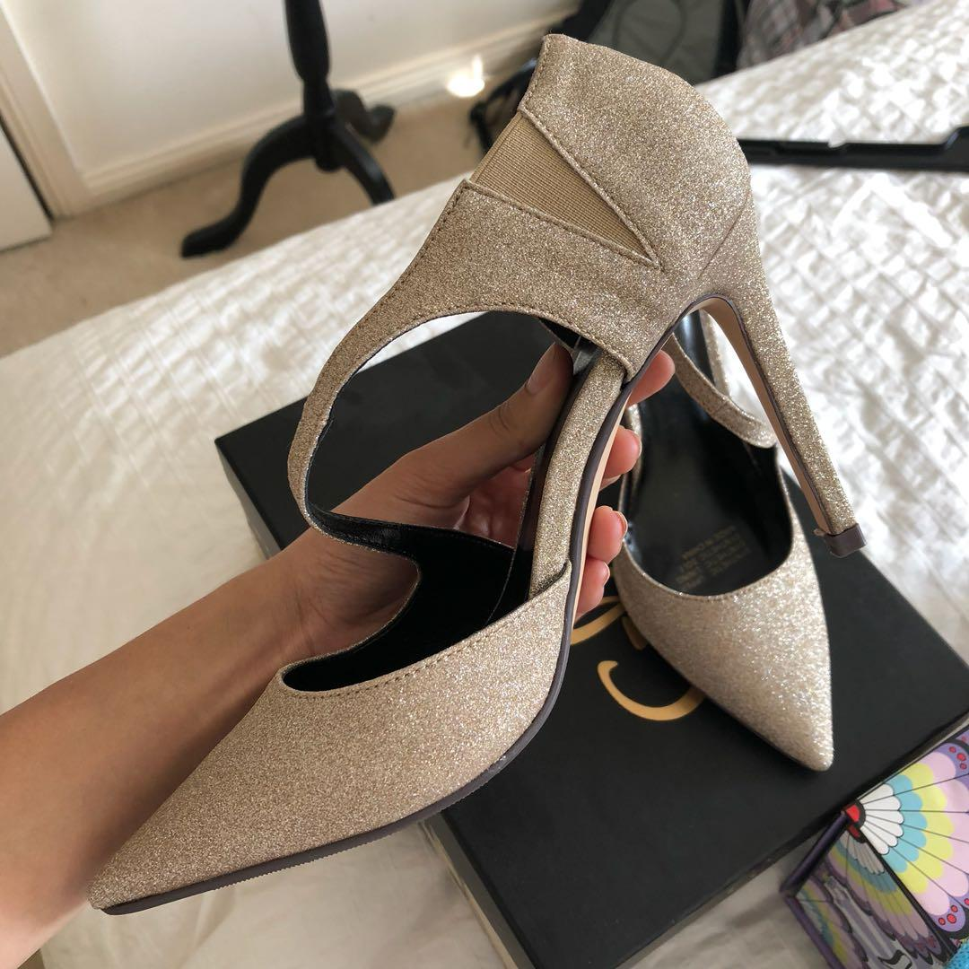 Brand New Nude Closed Toe Glitter Shoes