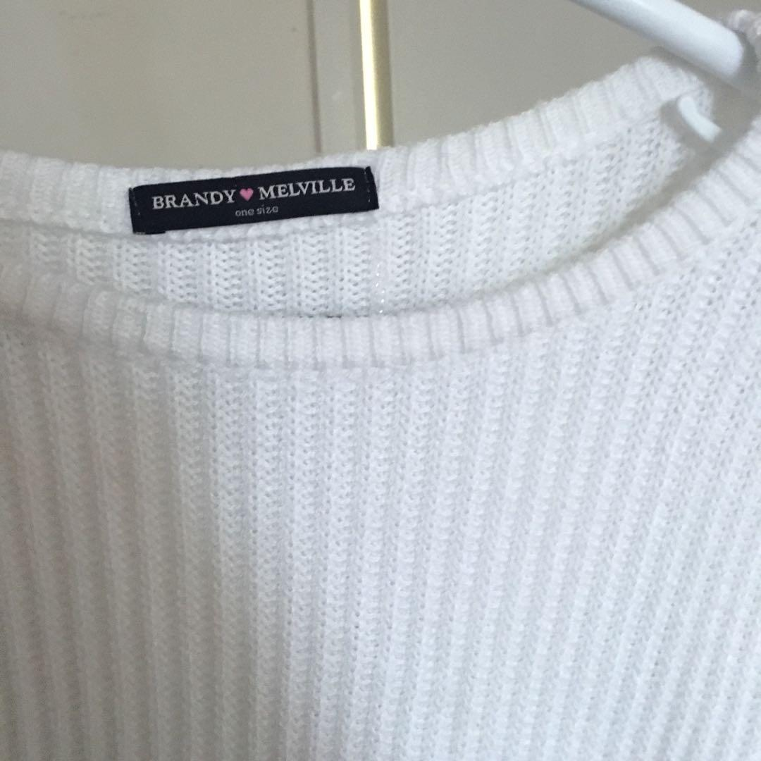 Brandy Melville cropped white knit sweater
