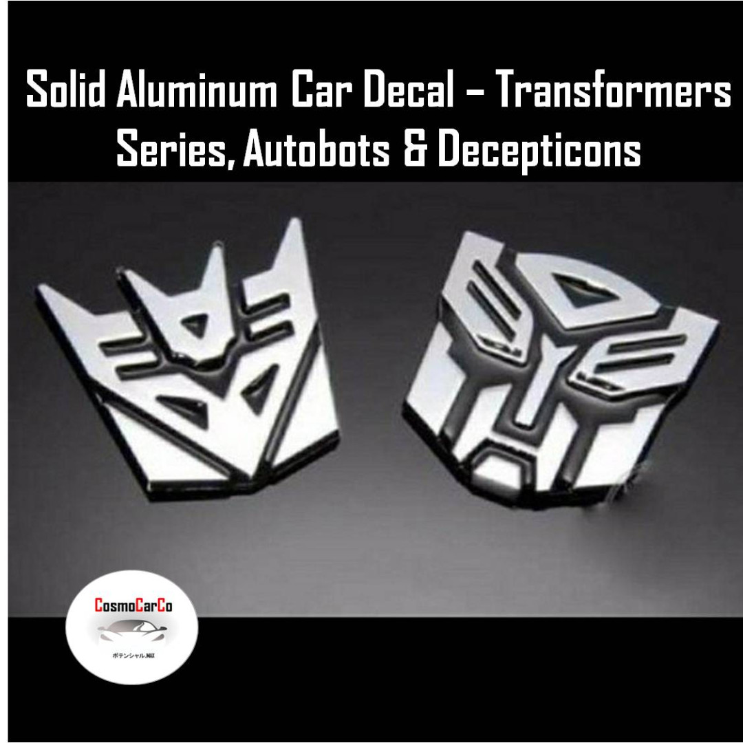 3D Solid Metal Transformer Autobot Decepticon Car Emblem Logo Design Badge Sticker 3M Tape, Car