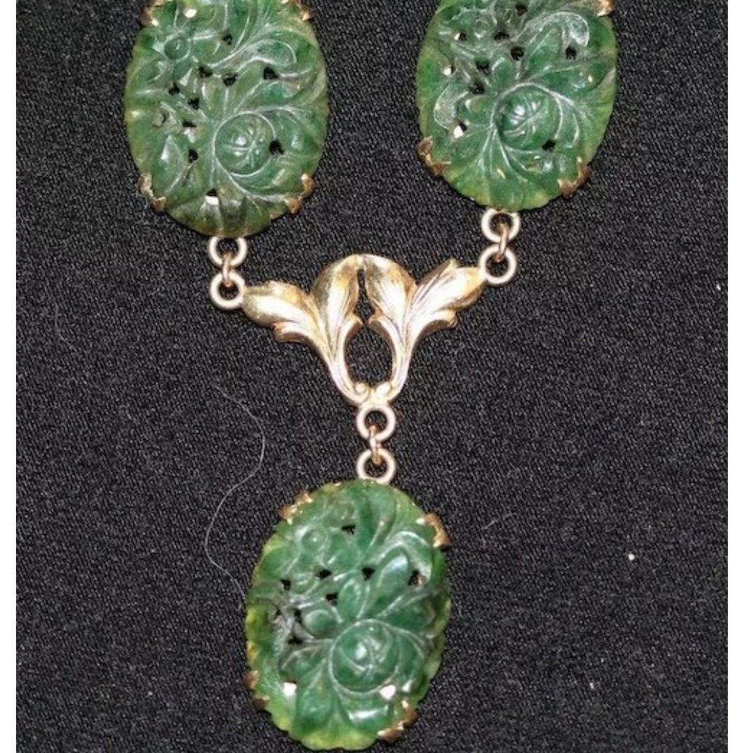 Carved Jade and 10K YG Necklace