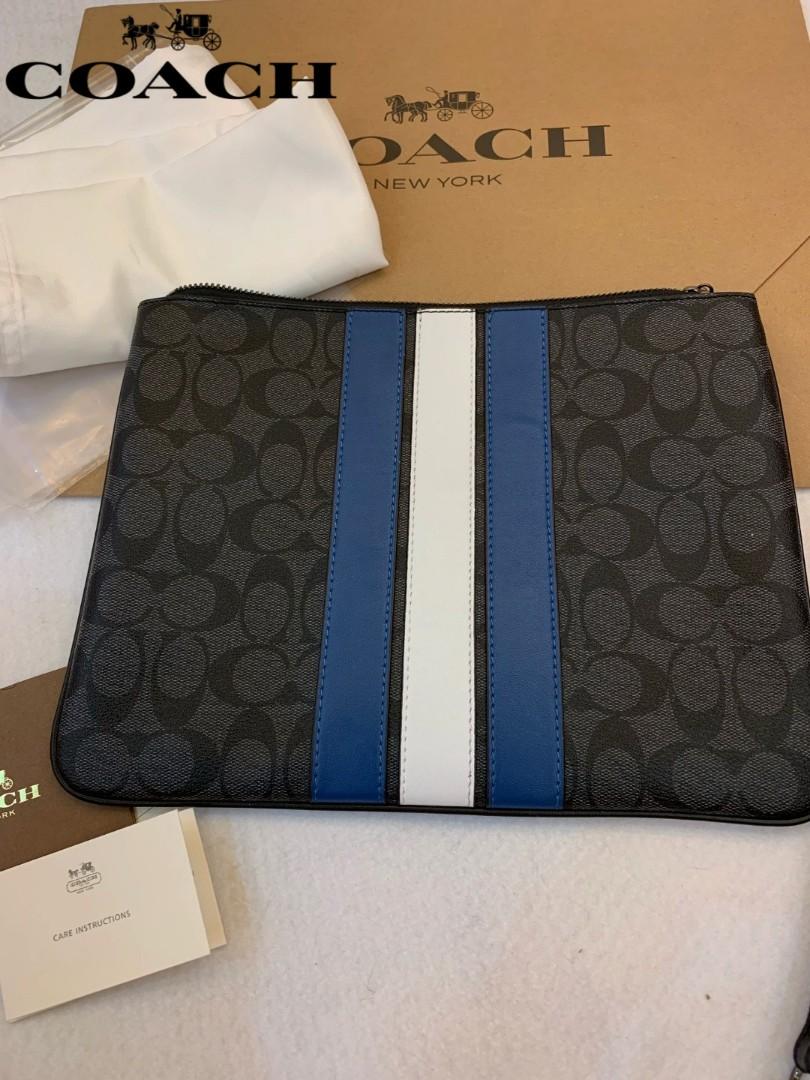 COACH F26071 Signature Canvas with Varsity Stripe Pouch Clutch Bag ... 6b26dc9262