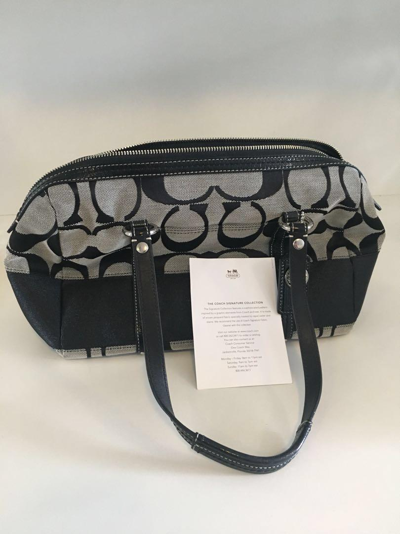 Coach new bag genuine black grey signature canvas and leather