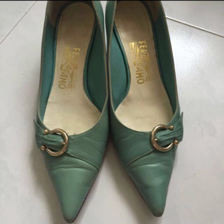 12aa6e1dba2 Ferragamo turquoise leather low heels. Authentic. Used. Gd condition ...