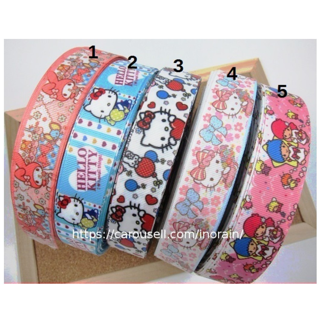 be7b54d2d5 Grosgrain Ribbon Sanrio Characters Hello Kitty My Melody Little Twin ...
