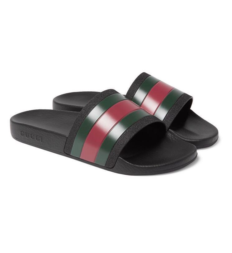 dc565c0c3 Gucci Striped Slides Pursuit 72 (101% Authentic), Men's Fashion, Footwear,  Slippers & Sandals on Carousell