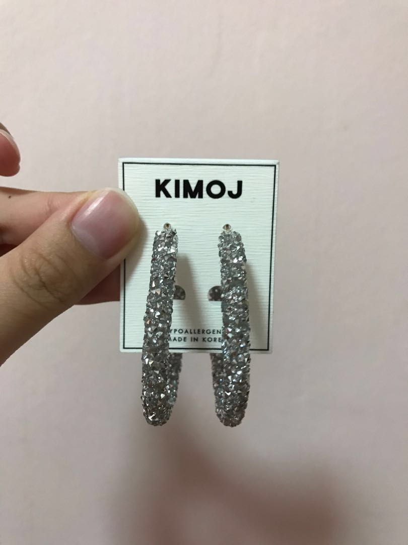 a69d3d7b14f38a Kimoj Crystal Encrusted Hoop Earrings, Women's Fashion, Jewellery, Earrings  on Carousell