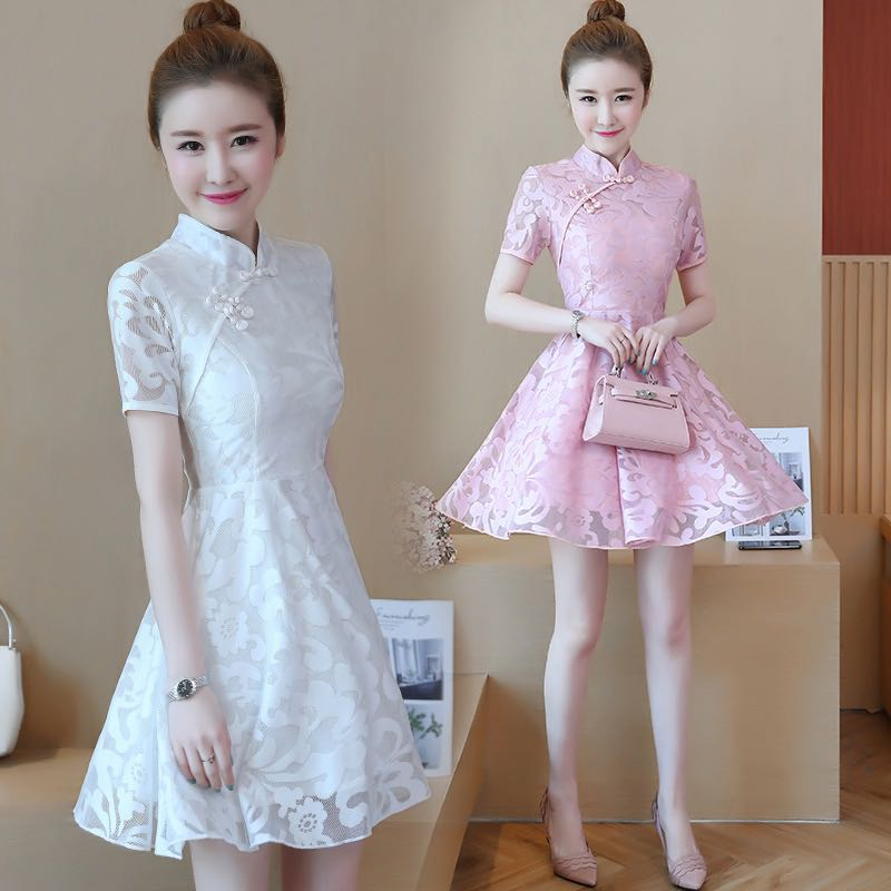 93ccc5cd9d17a4 Lindy Sweet Floral Lace Cheongsam Collared Skater Dress, Women's ...