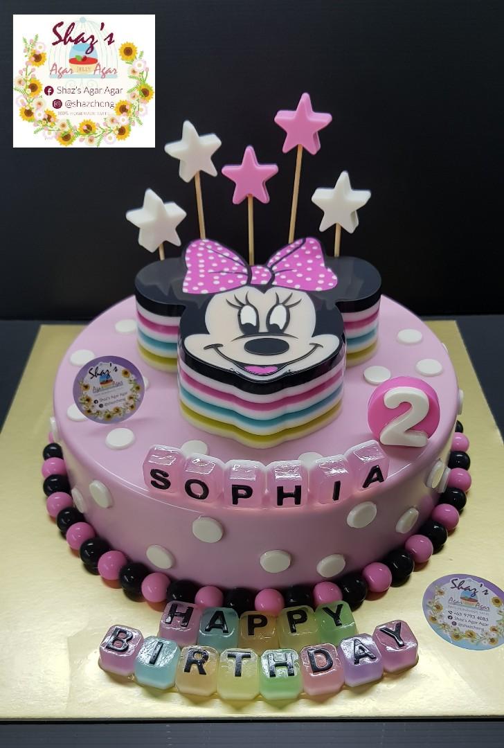 Minnie Mouse Theme Agar Jelly Birthday Cake Food Drinks